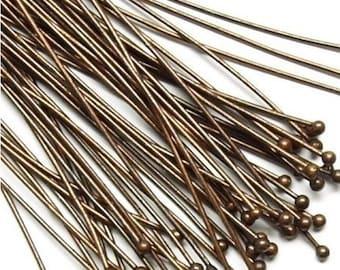 50pcs- Antique Bronze Ball Headpins  2inch.