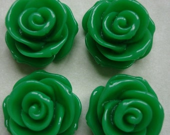 4pcs-Rose Flower Cabochon, Green, Resin, D-23mm, H-13mm.