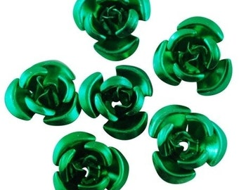50pcs-Aluminum Flower Beads, Dark Green, (12x7)mm, hole-1mm.