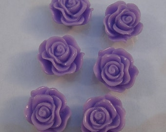 10pcs-Rose Flower Cabochon,Lavender, Resin, 13mm.
