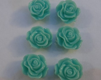 10pcs-Rose Flower Cabochon,Aqua, Resin, 13mm.