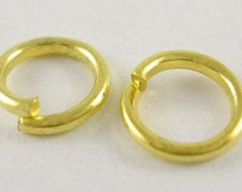 100pcs-Jumprings, Gold  Plated, Heavy Strong, Jumpring OD-5mm, 18ga.