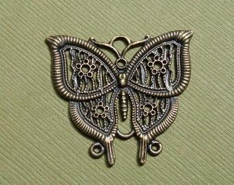 5pcs- Antiqued Brass Butterfly Filigree 33x30mm,