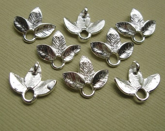White Gold Plated Small Leaf Connector- 6pcs.