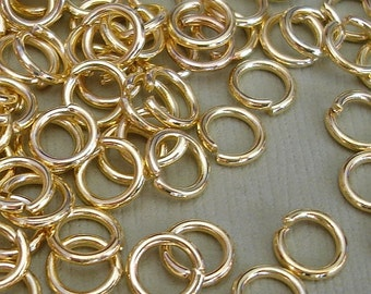 100pcs-Jumpring, Gold  Plated, Heavy Strong, Jumprings OD-6mm, 18ga.