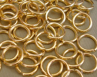 100pcs-Jump Rings, Gold  Plated, Heavy Strong, OD-7mm, 18ga.