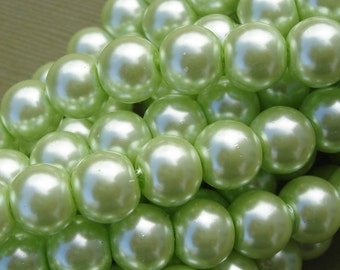 Pearl Glass Beads Pale Green- 8mm- 32inch Strand.