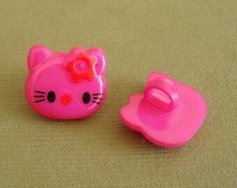Kitty Acrylic Sewing Button-40pcs.