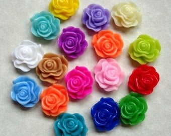 32pcs-Rose Flower Cabochon,Resin, 13mm.