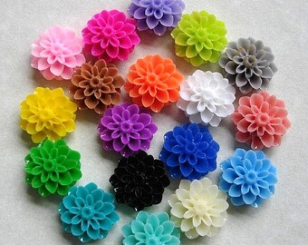 SALE-45pcs-Mom Flower Cabochon, Mix Color, Resin, D-15mm, H-8mm.