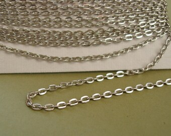32ft Spool-Platinum Color Flat Round Cross Cable Chain-3x2.2mm.