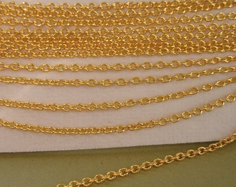 32ft Gold Plated  Brass Round Cable Chain-2x1.5x0.3mm.