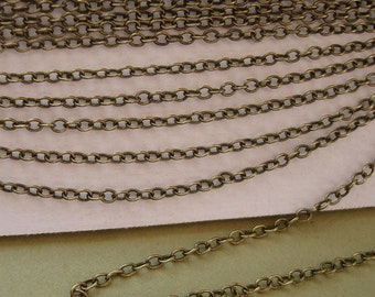 32ft Spool-Antique Bronze Plated  Brass Round Cable Chain-2x1.5x0.3mm.