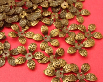 50pcs Antique Bronze Daisy Bead Caps Nickel Free