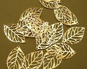 20pcs-Pendant, Leaf, Bright Gold (25x15)mm.