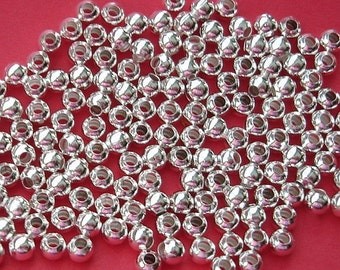 Spacer Beads, Round, Bright Silver -200 pcs.