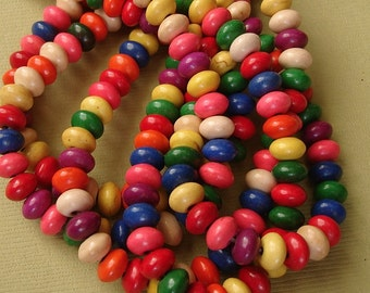 2strands-Turquoise Howlite Rondelle Beads Flat Round Mixed Color 6x4mm.