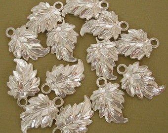 16pcs-Leaf Charm Pendant Sterling Silver Plated.