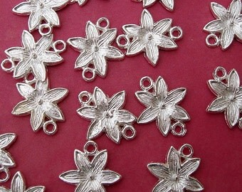 Silver  Plated  Flower Connector- 10pcs.