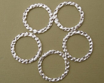 Connectors Links, Ring,  Hamered Silver Plated Open- 22mm-10pcs.