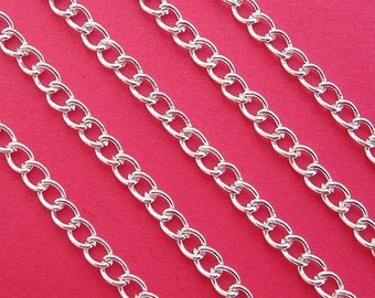 32ft-Silver Plated Curb Twist Chain 2.5x3.5mm.