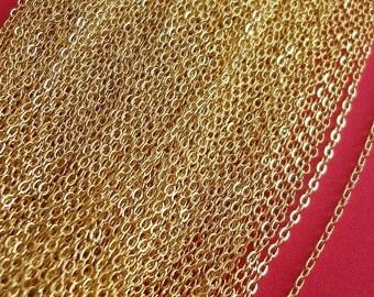 10ft Spool-Gold Plated Tiny Flat Oval Cross Cable Chain-2x1.5mm.