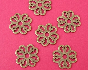 20pcs-Pendant, Charm Connector Flower  Antique Bronze 15mm.
