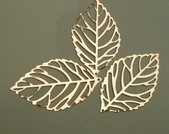 10pcs-Pendant, Leaf, Bright Gold -64x37mm.