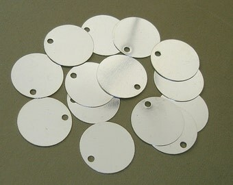 Silver Plated Over Brass Bright Color Flat Round Blank Disc Stamping Disk 15mm.