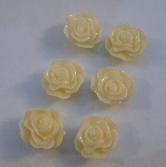 10pcs-Rose Flower Cabochon,Ivory, Resin, 13mm.