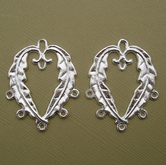 Connector Leaf Charm Pendant Sterling Silver Plated- 10pcs.