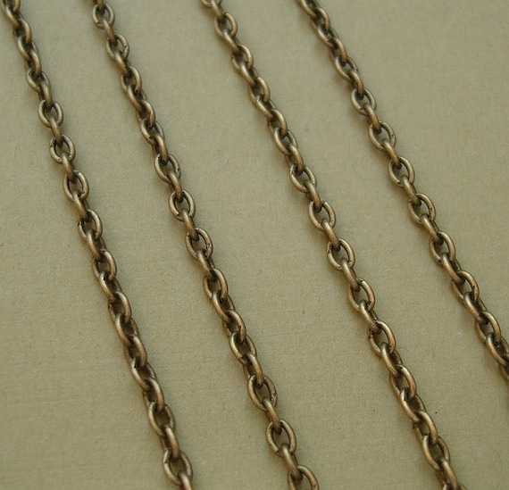15ft Spool-Antique Bronze Plated  Brass Round Cable Chain-2x3mm.