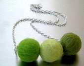 the GREEN TRIO  felt bead necklace