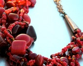 Multistrand Necklace in Red and Copper - Choker