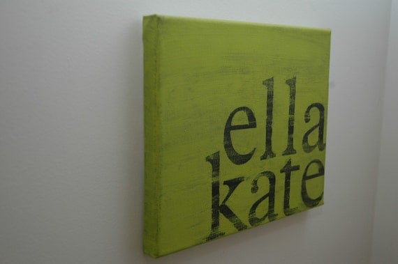 custom name hand painted canvas. 8x10.