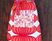 Geometric woman's half apron, Cherry Red, Pink, pocket, hostess, waitress, chef