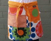 Fall Flowers Apron, orange, pink, royal blue. long ties, heavy canvas, large size, woman's or men's