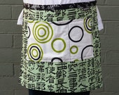 Woman's half apron, green, pocket, circles, designer fabric, chef, black and white, artist, garden, kitchen, child's, gift