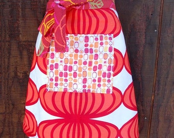 Geometric woman's half apron, Cherry Red, Pink, pocket, hostess, waitress, chef