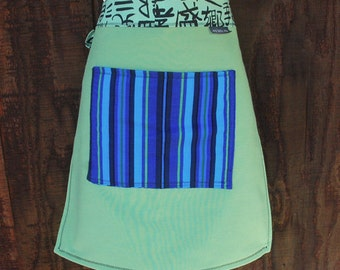 Woman's half apron, Fresh Green, electric blue, unique waitress style
