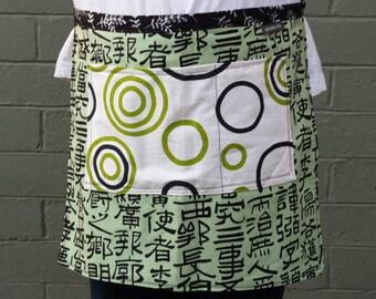 Woman's half apron, green, pocket, circles, designer fabric, chef, black and white, artist, garden, kitchen, child's, gift