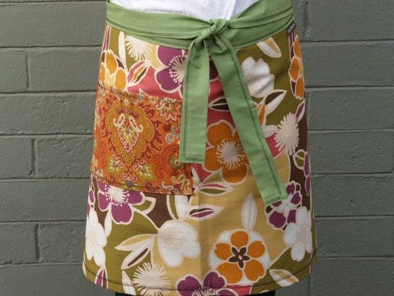 Woman's half apron, Autumn Colors, Tan green, paisley pocket, heavy canvas, waitress