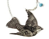 Swooping Bird Necklace Sparrow Swallow Victorian Illustration Black and White Woodland Pastel Blue