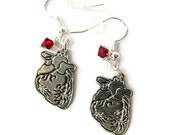 Anatomical Heart Earrings Silver Pewter with Red Swarovski Crystal Anatomy Jewelry