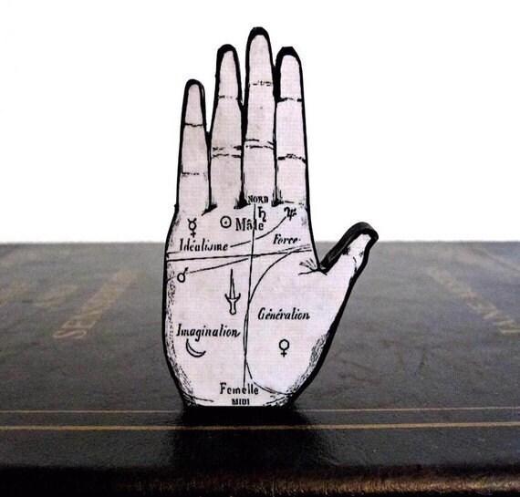 Palmistry Hand Wood Brooch Laser Cut Black and White Grey Avante Garde Astrology Medical Anatomy Unisex
