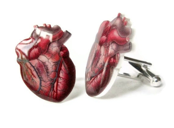 Cuff links Anatomical Heart Cufflinks Red Blue Viens Anatomy Men Unisex Fathers Day