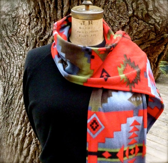 Native American Inspired Fleece Scarf  ...  Ladies Fleece Scarf  .... Southwest Fleece Scarf