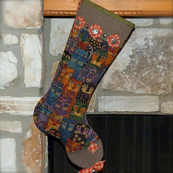 Cat Christmas Stocking ..... Laurel Burch inspired Stocking ... Paws and Plaids