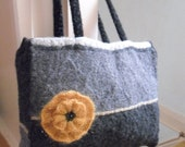 Shopping Tote Bag in Black / Grey . Recycled cable knit and felted , with mustard flower trims, fully lined. Recycled / Upcycled