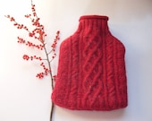 Hot water bottle cover Red chunky cable recycled from 100% wool sweater  with bottle